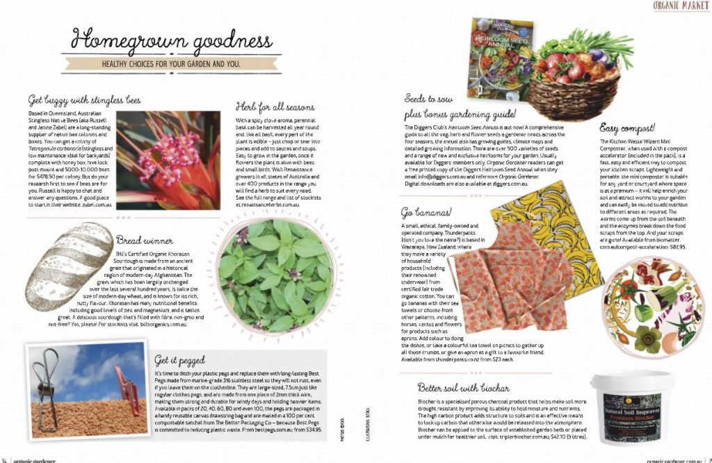 Best Pegs editorial feature in Organic Gardener magazine